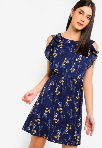 ZALORA 海軍藍色 荷葉飾修身喇叭裙洋裝 1EA5FAAEE93D53GS_1