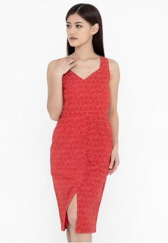 SAVI Batik red Batik Bodycon Dress Red 7D11DAAD494CA4GS_1