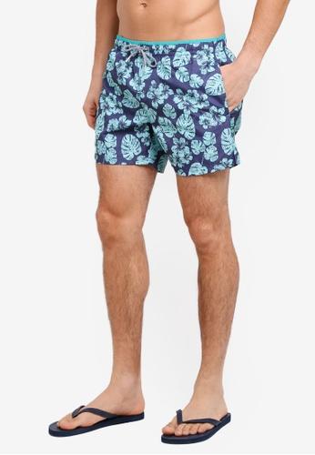 MANGO Man blue Tropical Print Boardshorts B4FEBAAD9B89DAGS_1