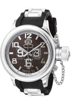 Russian Diver Men 51.5mm Case Steel, Stainless Steel, Polyurethane Strap Gunmetal Dial Quartz Watch 4583