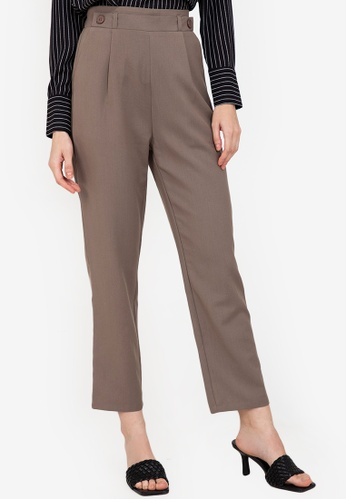 ZALORA WORK brown Elastic Band Detail Pants 83473AA13A174AGS_1