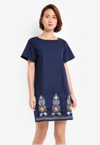 ZALORA navy Embroidered Bottom Dress 4A4B1AABD2134CGS_1