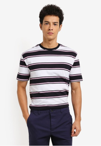 Topman black and pink Striped T-Shirt 396BCAA036F5ACGS_1