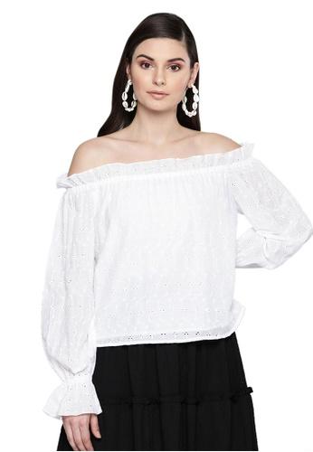 SASSAFRAS white White Schiffli Off Shoulder Top 5051CAA2F9CD68GS_1
