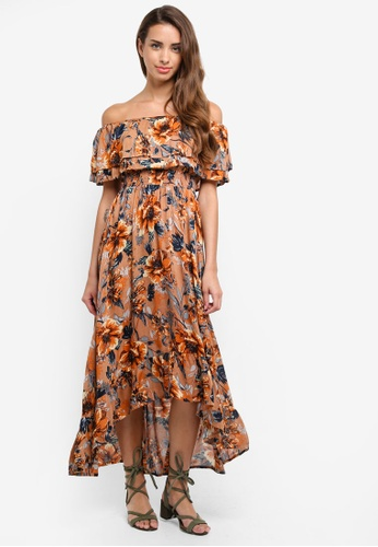 River Island brown Floral Bardot Maxi Dress 43CE1AA87E32F8GS_1
