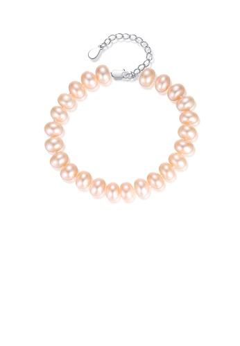 Glamorousky pink 925 Sterling Silver Fashion Elegant Pink Freshwater Pearl Beaded Bracelet 971B6AC734580BGS_1