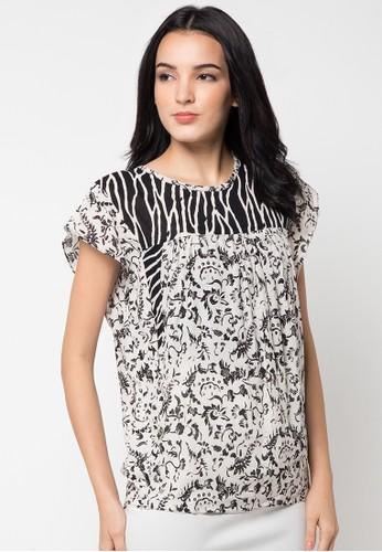 Batik Aksen Tropis Blouse Paris Pendek Kombinasi