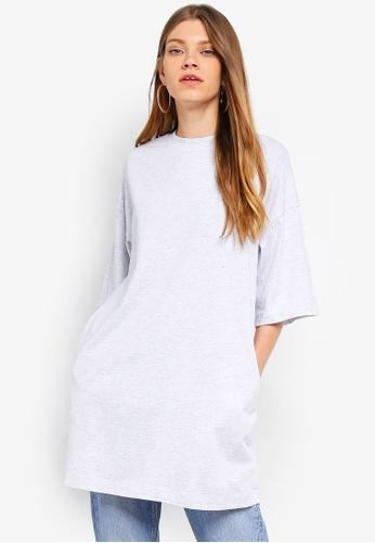 TOPSHOP grey Boyfriend Tunic T-Shirt 7A49AAA6C3B160GS_1