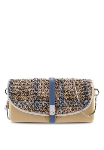 Hoola Hoola brown Camilla Clutch - Hazelnut Blue Tweed with Snake Chain B6FDCACB920B50GS_1