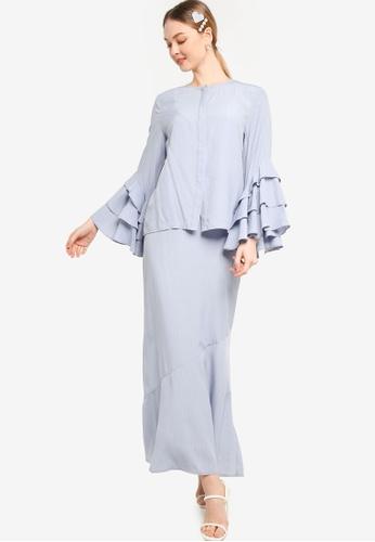 Lubna blue Layered Ruffle Sleeves Kurung 4BB22AAB9E70F4GS_1