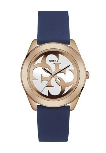 Guess Watch blue Guess G Twist Rose Gold and Blue Rubber Watch GU514AC08SSLHK_1
