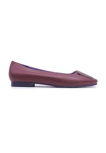 Flatss & Heelss by Rad Russel 紅色 Elegant Buckle Flats - Burgundy C369DSH93D9927GS_1