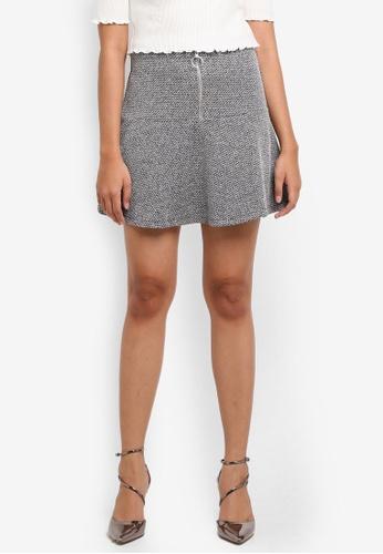 TOPSHOP grey Petite Salt Pepper Peplum Hem Skirt 9C50AAA4521DEFGS_1