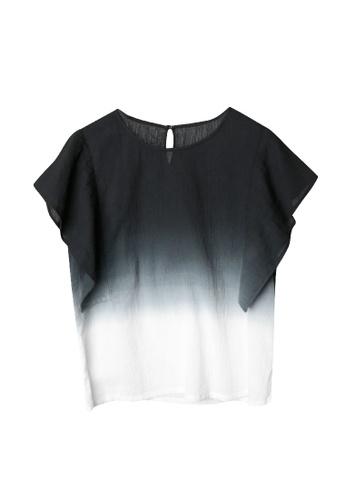 Giordano Ladies black Handkerchief Sleeve Dip-Dye Wrinkle Blouse F147AAA2A191D5GS_1