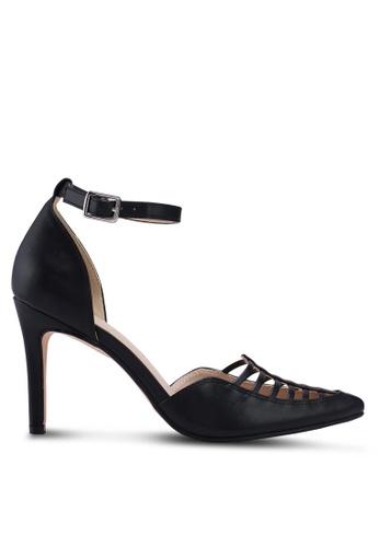 ZALORA 黑色 尖頭繞踝高跟鞋 28359SH76DDB85GS_1