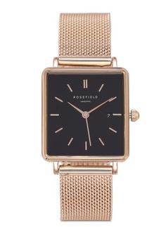 c1c996814f3 Psst... we have already received your request. Rosefield. The Boxy Black  Mesh Rose Gold Watch