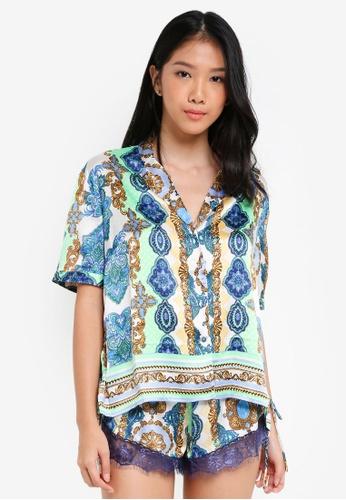 River Island green Green Mixed Print Lace Pyjama Shirt B408BAAFCFA823GS_1