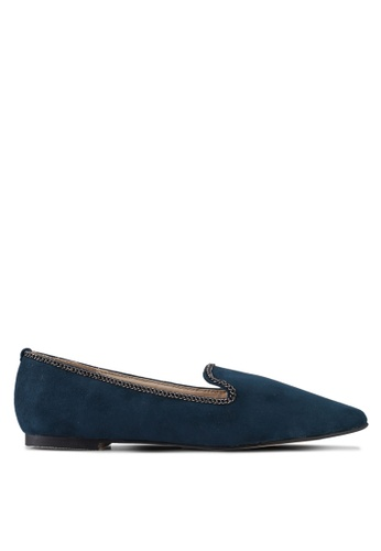 ZALORA blue Chain Detail Ballerina Loafers 95A0ESHE8389B4GS_1