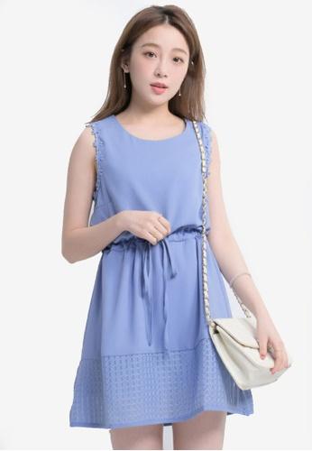Yoco blue Floral Crochet Lattice Dress 15059AA1BA3101GS_1