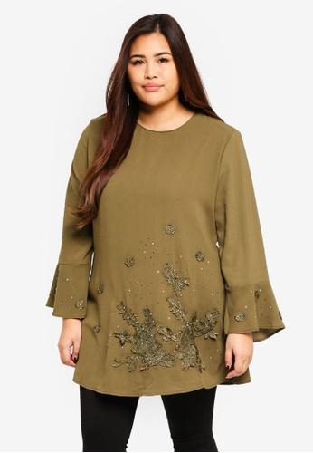 BYN green Plus Size Muslimah Blouse CFC84AAA04EC50GS_1