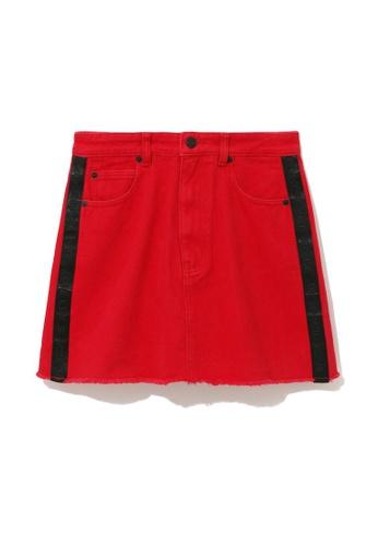 izzue red Logo jacquard tape skirt FC356AA255E535GS_1