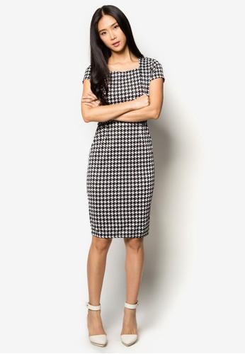 千zalora taiwan 時尚購物網鞋子鳥格腰帶連身裙, 服飾, 洋裝
