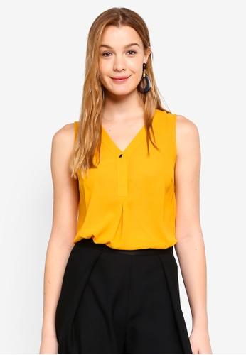 Dorothy Perkins orange Ochre Button Sleeveless Top EA720AAF2DF2EAGS_1