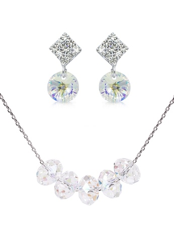SO SEOUL silver Swarovski® Crystal Aurore Boreale Beads Earrings and Necklace Set 581DCAC7B305ECGS_1