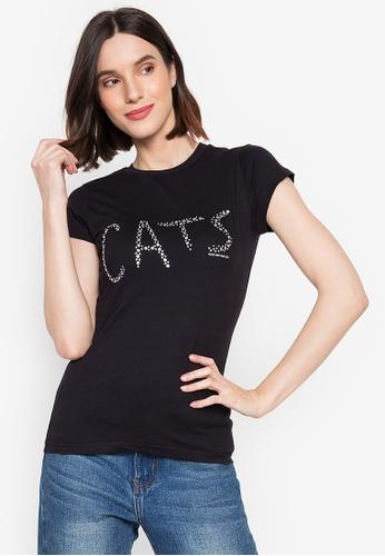 CATS black Ladies Diamante T-shirt 9EDF2AAC8B7A72GS_1