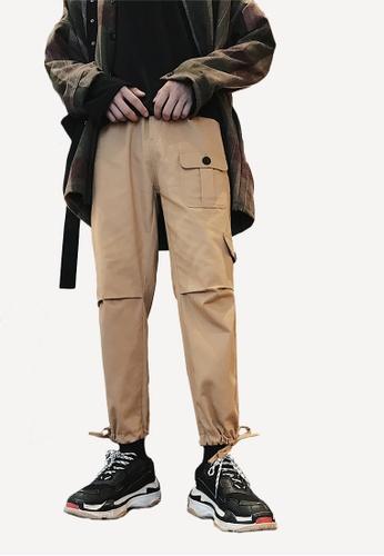 hk-ehunter beige Men's Front Pocket Pants FB903AA8EF2179GS_1