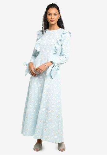 Lubna blue Ruffle Sleeves Dress EFD02AAE5040E1GS_1