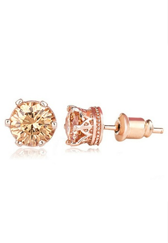Vivere Rosse gold Classic Solitaire Gold Stud Earrings VI014AC48KVFMY_1