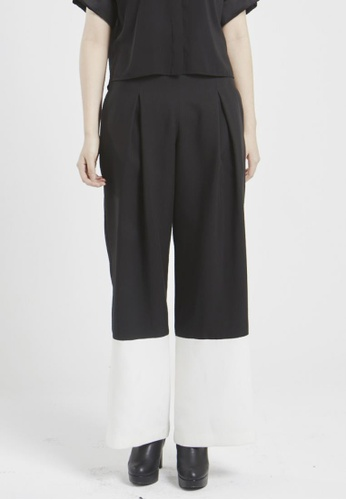 NINETEENEIGHTY black Color Contrast Hem Wide Legged Pants NI195AA18XBXSG_1