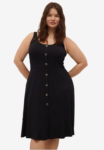 Violeta by MANGO black Plus Size Button Knit Dress B675EAAB396D01GS_1