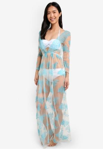 PINK N' PROPER blue Opulence Hepburn Mesh Beach Dress PI108US0S5D2MY_1