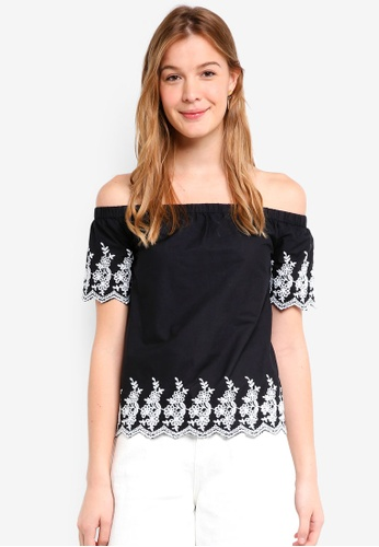 a9e4ea19938 Dorothy Perkins black Black Embroidered Bardot Top 5C6D2AA8477749GS_1