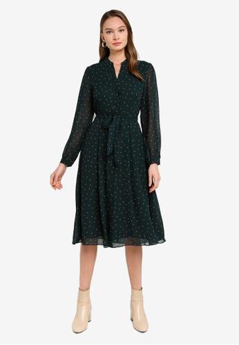 FORCAST green Addyson Tie Waist Dress 22E82AAF6A36CBGS_1