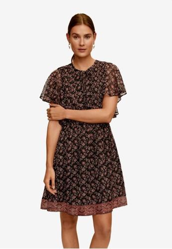 Mango black Ruffled Printed Dress E68ECAA280B351GS_1