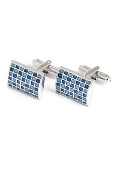 Kings Collection-藍色石長方形袖扣