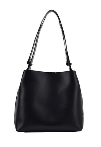 Lara black Women's Plain PU Leather Magnetic Closure Tote Bag Shoulder Bag - Black C35C8ACEA75EE5GS_1