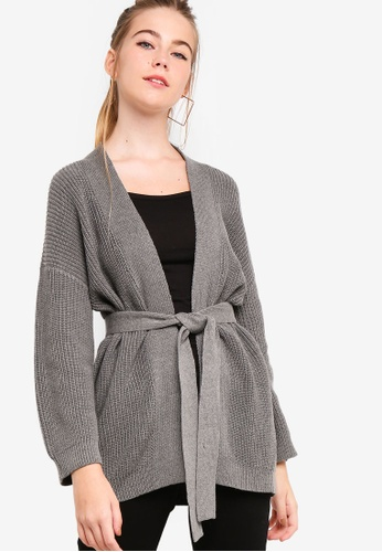 Something Borrowed grey Longline Cardigan With Self Tie DC537AA60ECEAAGS_1