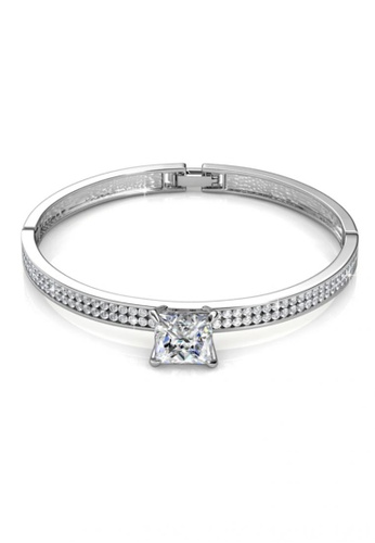 Her Jewellery silver Swarovski® Crystals - Melorine Bangle (White Gold)(18K White Gold Plated) Her Jewellery HE581AC0RB12MY_1