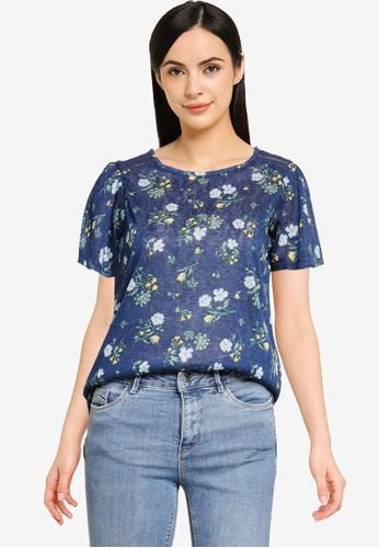 Springfield blue Crochet Shoulders Printed T-shirt 54206AA73B961DGS_1