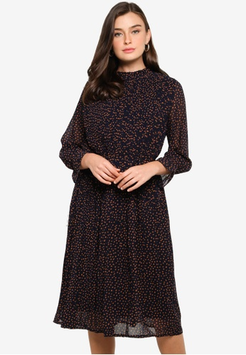 FORCAST navy Azaria Pleated Dress 9D0D7AA6932821GS_1