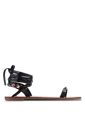 Something Borrowed black Studded Lace Up Sandals 00F12ZZAA69829GS_1