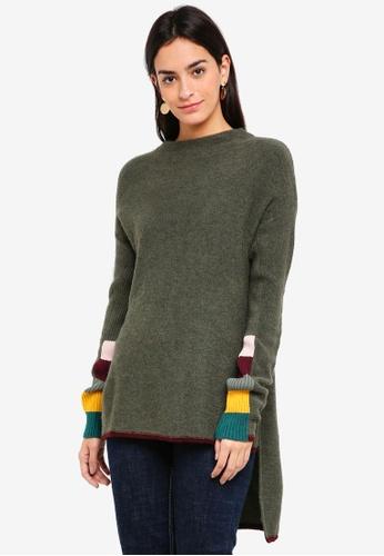 Asymmetric Contrast Knit Sweater e758b1186