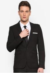 Burton Menswear London 黑色 Black Skinny Fit Slub Suit Jacket BU964AA54KWVMY_1