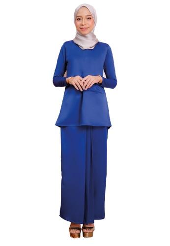 SARIMA blue Kurung Modern Pocket Royal Blue 370CEAA87A6453GS_1