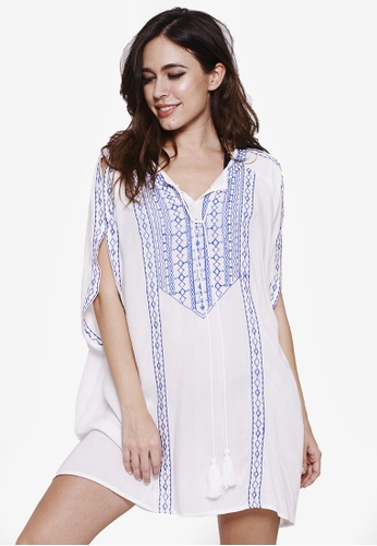 Malibu Beachwear white Thira Embroidered Kaftan BEE19US750BA69GS_1