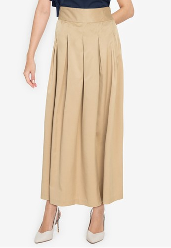 ZALORA WORK brown Box Pleated Midi Skirt B18E0AAD89EEF8GS_1